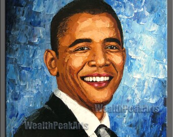 original oil painting,hand impasto oil on canvas,framed,ready to hang,30''x30''  palette knife portrait painting Barack Hussein Obama