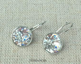 Silver dangle earring and 2cm white crystals