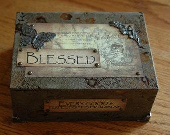 Handmade Keepsake Box 'BLESSED'  Vintage Designed - Microsuede