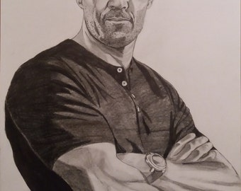 Jason statham pencil sketch A3