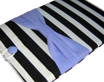 Kindle Cover, iPad Mini Cover, iPad Mini 3 Case, Kindle Fire Case, Nexus 7 Sleeve, Galaxy Tab cover, Black Stripes w/ Purple Bow