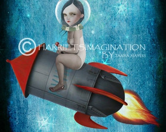 Space rocket wall decor | Pop surrealism art print | Outer space print | Aim For The Moon
