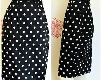 Vintage Pencil Skirt | 80s Skirt |  Polka Dot Pencil Skirt | Womens Black and White Skirt | Ladies Pencil Skirt | Black and White Polka Dot