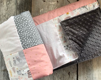 Baby crib blanket, quilt style , forest animals (raccoons, owls, bears) pink and grey , minky or faux fur on the back side