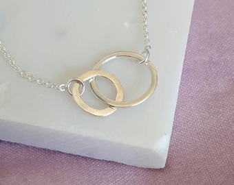 Dainty Karma Necklace in Silver, Two circles layering necklace, gift for her