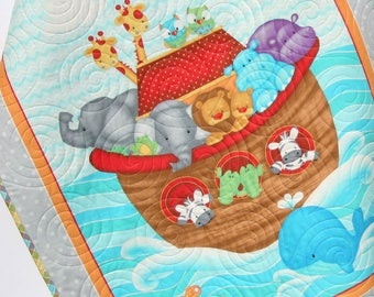 Baptism Gift, Noahs Ark, Baby Quilt, Christening, Animals, Baby Gift, Baby Blankets, Crib Quilt, Baby, New Baby Gifts, Nursery Bedding Quilt