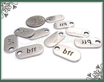 12 Antiqued Silver BFF Charms - Best Friends Forever Tags 18mm PS112