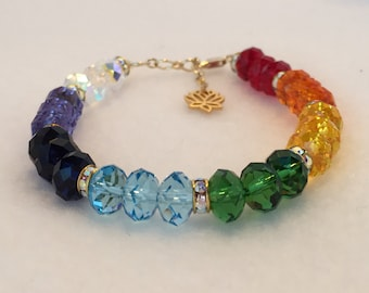 Balanced Chakras - Gold - Therapeutic Sacred Energy Infused Swarovski Crystal Healing Bracelet by Crystal Vibrations Jewelry