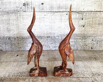 Crane Figurines 2 Wooden Crane Bird Sculpture Egret Figurine Heron Sculpture Hand Carved Bird Wood Sculpture Folk Art Sculpture Mid Century