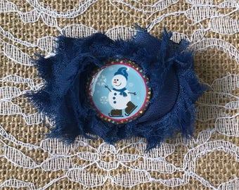 Snowman Petite Shabby Flower Hair Clip