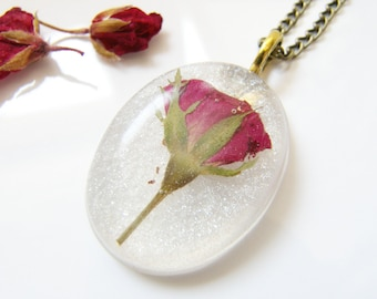 Real Red Rose Necklace, Pressed Rosebud, Real Flower Jewelry, Bridal Gift, Gift for Her