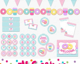Donut Birthday Party Printable Decorations Package - Doughnut Party Printables - Party Banner - Donut Shop Party - INSTANT DOWNLOAD Pdf