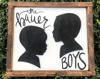 Made to order portrait silhouette wood sign with text of your choice