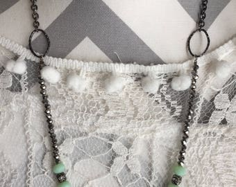 Necklaces-beaded necklace-coral beads-seafoam green beads-summer-hand made-hand beaded necklace-bridal jewelry