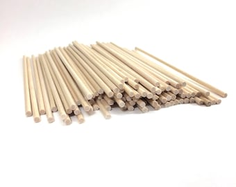 "50 ct 1/8"" x 6"" Natural Wood Dowel Rods Thin 