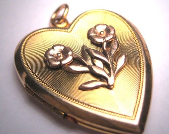 Antique Victorian Gold Locket Pendant Vintage Heart Art Deco