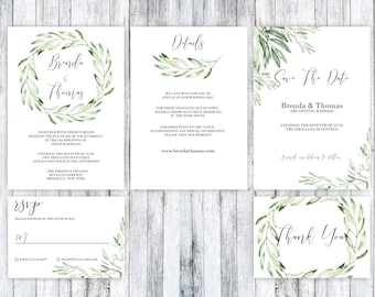 Wedding Invitation Template, Wedding Invitation printable, Green Wedding Invitation, Rustic wedding Invitation, Wedding Invitation suite,PDF