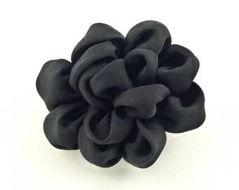 Flower diameter 6cm - black satin synthetic