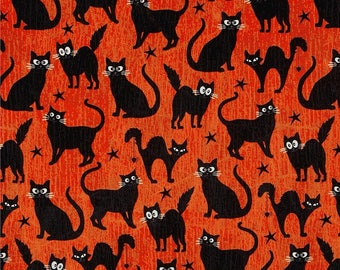 Black Cats on Orange (Glow In the Dark) from Henry Glass's Fangtastic Collection By First Blush Studio