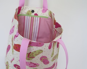 Beach Bag Flip Flop Tote Pink and Green