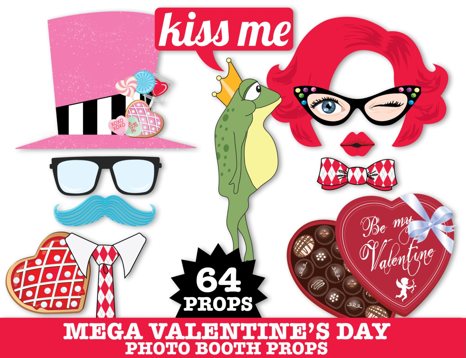 Preferred Valentines Day Photo Booth Props,Wedding Props,Cupid,Kissing Booth  RL53