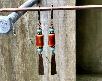 Copper Earrings, Turquoise Earrings, Ceramic Earrings, Boho Earrings, Ethnic Earrings, Tribal Earrings, Nature Earrings, Rustic Earrings