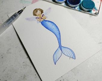 Blue Mermaid Watercolor