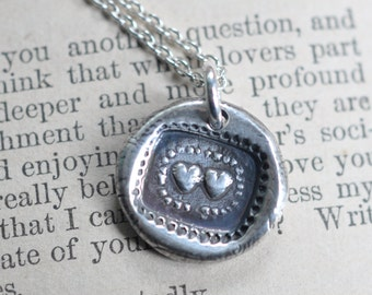 two hearts wax seal necklace pendant ... inseparable hearts - sterling silver antique wax seal jewelry