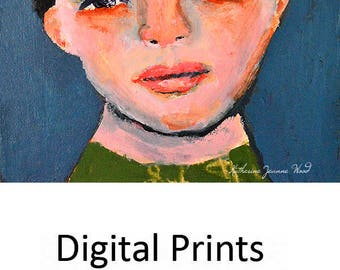 Boy Portrait Painting Digital Print. Schoolboy Print. Whimsical Portrait Art Print. Child's Room Art Print