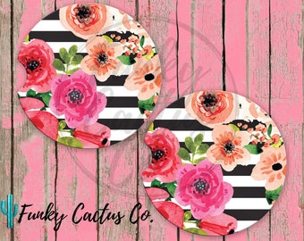 Striped Floral Car Coasters