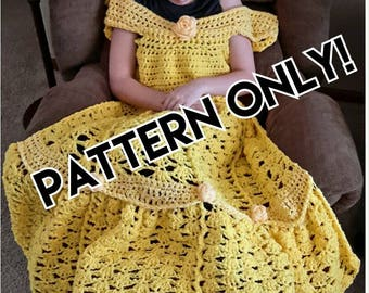 Princess Dress Blanket, Yellow, crochet pattern, Digital Download, PDF only, toddler child adult sizes