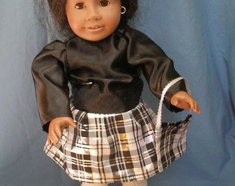 """Black and Plaid Taffata Party Outfit for 18"""" Dolls, such as American Girl, with matching purse"""