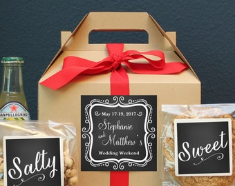 Set of 6-Out of Town Guest Box / Wedding Welcome Box / Wedding Welcome Bag / Out of Town Guest Bag / Wedding Favor / Chalkboard Label