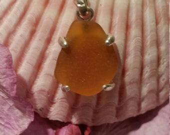 Amber or Kelly Green Sea Glass Pendant, Sea Glass Jewelry, English Sea Glass, Sea Glass, Sterling Silver Pendant