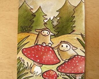 Forest Creatures Original ACEO Mini Illustration
