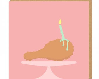 Fried Chicken and candle Birthday Greeting Card