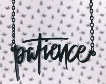 Patience Acrylic Laser-cut Typography Necklace