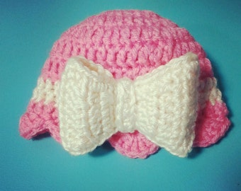 Baby Girls Crochet Bow Hat, Bow Beanie, Pink Hat with Bow, Toddler Girls Summer Hat, Newborn Girls Hospital Hat, Old Fashioned Girls Hat Bow