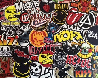 Set of rock band stickers, music, hard rock, metal, punk music band