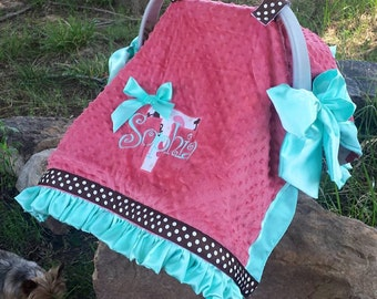 Coral Minky and Aqua Satin Western style Car seat cover Canopy w Ruffles Ribbon Horses Boots Horse shoes n Stars