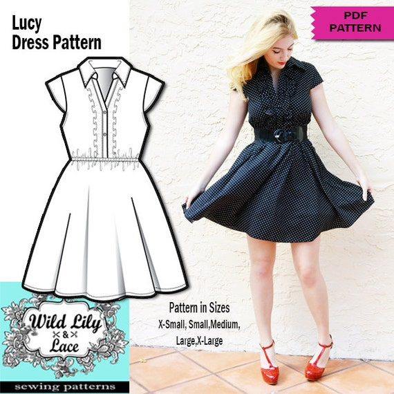RETRO DRESS PATTERN- Retro dress ,sewing pdf pattern, pdf pattern ...