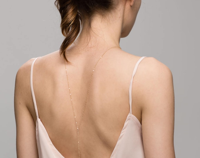 Simple Back Necklace // Bridal Jewelry for Low Back Dress, Dainty Beck Drop Necklace  EL028B