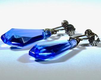 Antique Deco Cobalt Silver Earrings