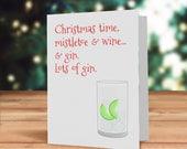 Festive gin card, Funny g...