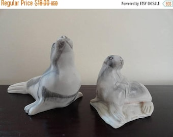 SALE Seal and Cub Figurines Grey and White