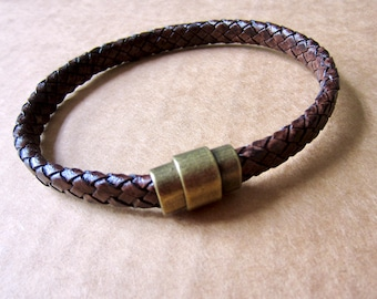 Men's Leather Cuff Bracelet Braided Brown Leather Bracelet Brass Boho Father's Day Gift Graduation Gift Gift for Him Boyfriend Gift (AY)