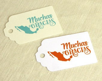 "Mexican Wedding Favor Tag - Muchas Gracias - Mexico Thank You Welcome Bag - Luggage Tag Destination Travel - Choose Color - 2.75"" x 1.75"""