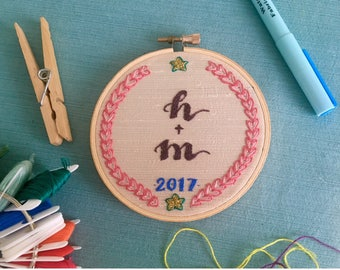 Happy Couple Embroidered Monogram Wedding Keepsake
