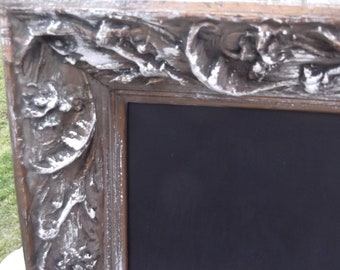 large  vintage chalkboard shabby chic beautiful wood, antique carved wood frame chalkboard