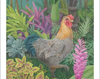 Plumper Rooster, Small Giclée Print